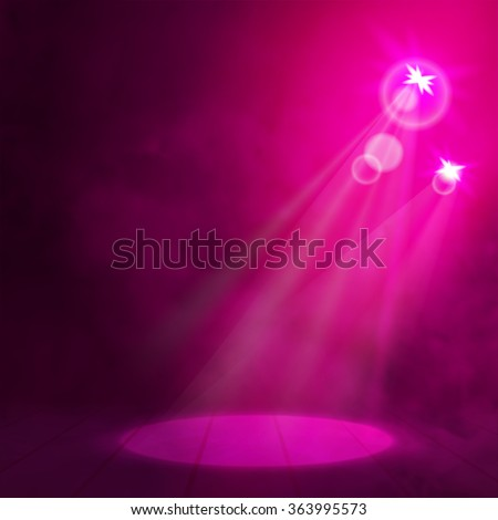 Red pink Great Premiere Show Background. Smoky vector stage podium shining with spotlight's rays - stock vector