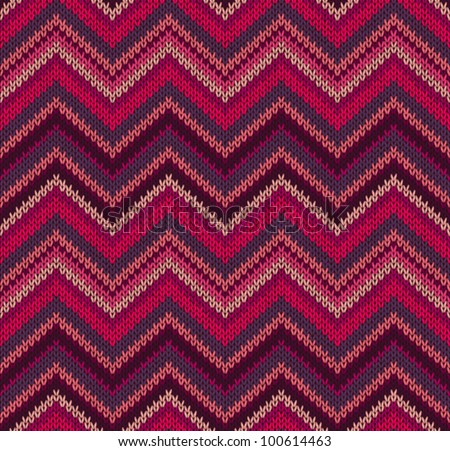 Red Pink Knit Texture , Beautiful Knitted Fabric Pattern - stock vector