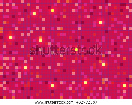 Red pixel mosaic background. Vector illustration. - stock vector