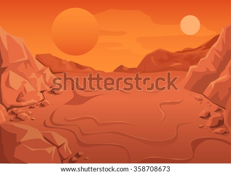 Red Planet Mars in space. Space landscape. Illustration in vector format - stock vector
