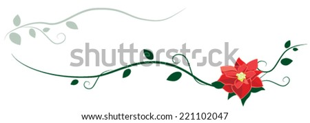 Red Poinsettia and Vines - Decorative Design - stock vector