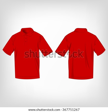 Red polo shirt isolated vector - stock vector