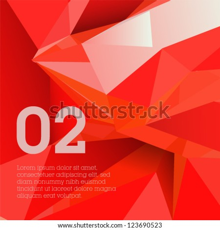 Red polygonal design / abstract form suitable for infographics, book cover or web banner - stock vector