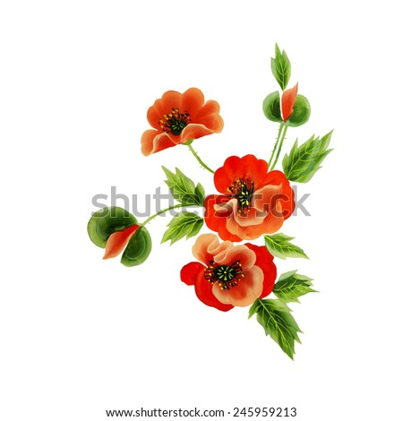Red Poppy, Isolated On White Background, Vector Illustration - stock vector