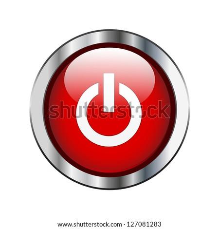 Red power button on silver border - stock vector
