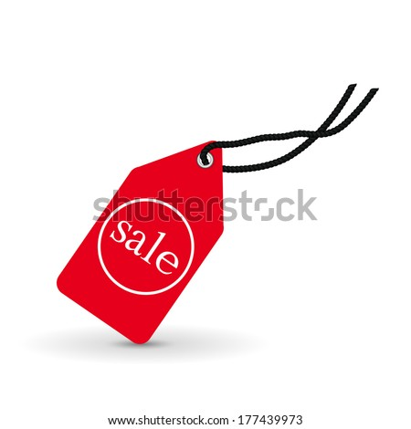 red price tag, label, vector illustration - stock vector