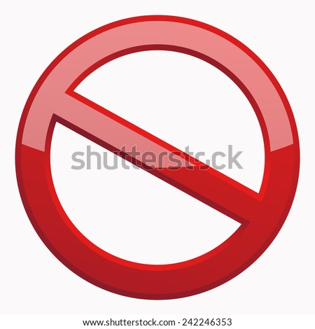 Red Prohibition sign 3D Icon at the white background. Do Not Symbol for your Business Presentation. Vector Isolated illustration - stock vector
