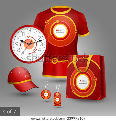 Red promotional souvenirs design for company with digital circles. Elements of stationery. - stock vector