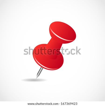 red pushpin on a white background with shadow VECTOR - stock vector