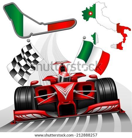 Red Race Car GP Monza Italy - stock vector