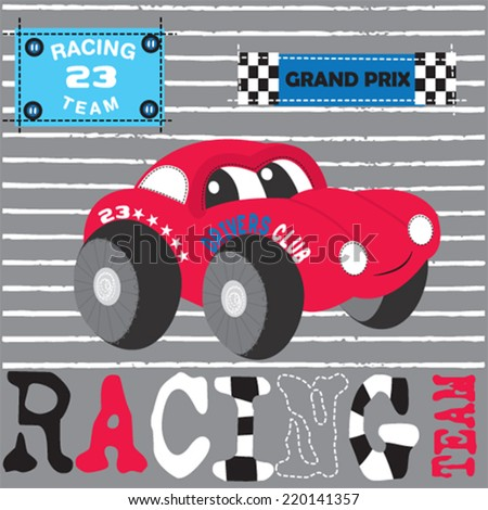 red race car striped background vector illustration - stock vector