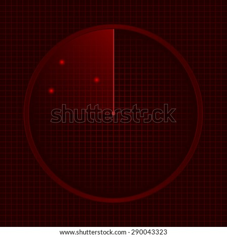 Red radar screen, technology concept. Vector illustration. - stock vector
