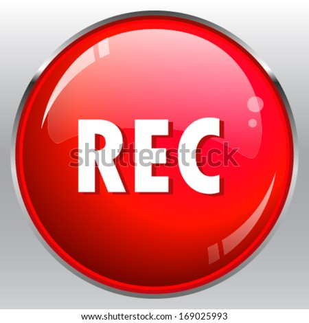 Red Rec button - stock vector