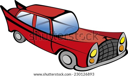Red retro car vector illustration. EPS10 file with transparency - stock vector