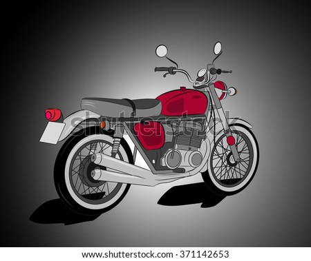 Red retro motorcycle illustration - stock vector