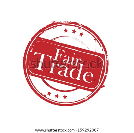 "Red retro round rubber stamp ""Fair Trade"" vector - stock vector"