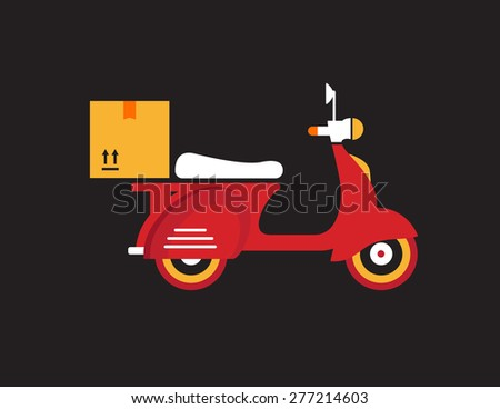 Red retro vintage delivery motor bike icon isolated on dark background - stock vector