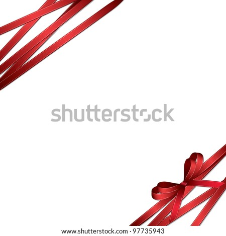 red ribbon and bow background (also available jpeg version) - stock vector