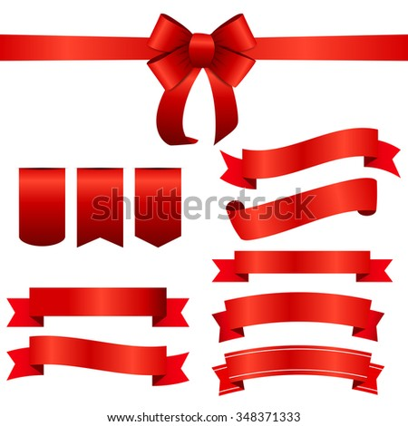 Red Ribbon and Bow Set. Vector illustration EPS10 - stock vector