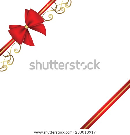 red ribbon and bow  with ornament isolatted on white background - stock vector