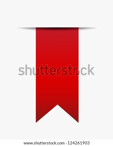 Red ribbon out of white paper - stock vector