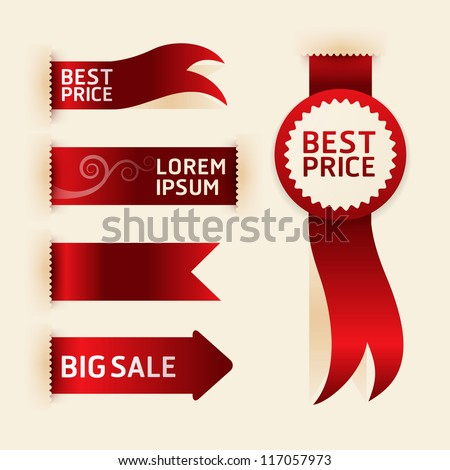 red ribbon promotion products design, vector illustration - stock vector
