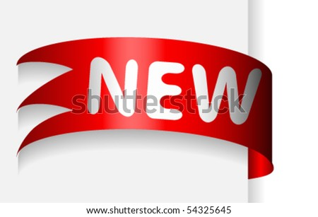 Red ribbon with word new place on paper - stock vector