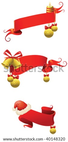 red ribbons and christmas  icons - stock vector