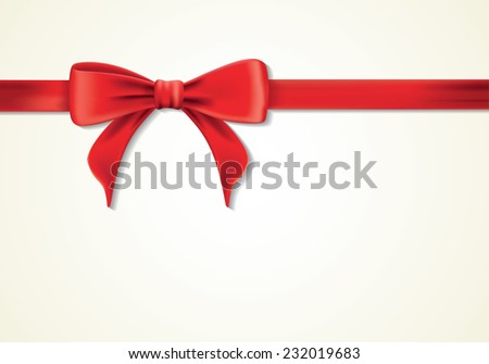 Red ribbons and greeting card, bows, Vector, decoration - stock vector