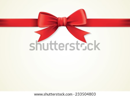 Red ribbons and greeting card, bows, Vector, new year, gift card - stock vector