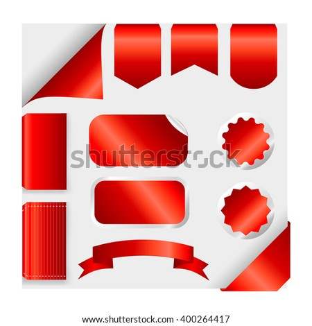 Red Ribbons Set isolated On Grey Background. Vector Illustration  - stock vector