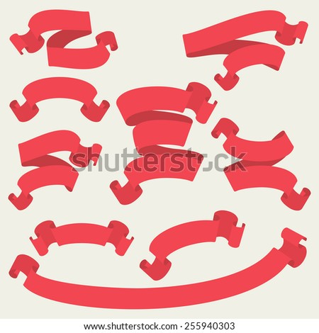 Red ribbons set. Vector banners in retro style - stock vector