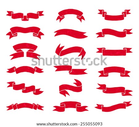 Red ribbons set. Vector illustration. - stock vector