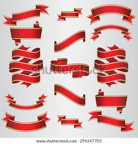 Red Ribbons Set. Vector Illustration. - stock vector