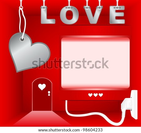 Red room with empty light box on theme of Valentines Day - stock vector