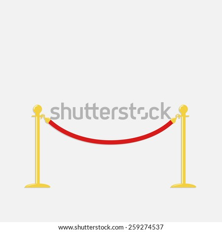 Red rope barrier golden stanchions turnstile Isolated template Flat design Vector illustration  - stock vector