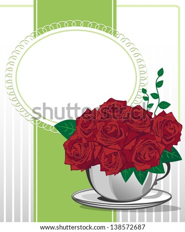 Red rose in a white cup. Happy birthday card design - stock vector