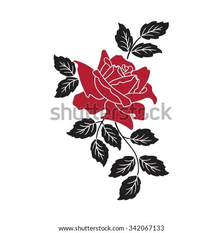 red rose on white - stock vector