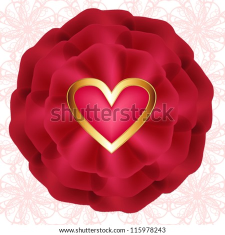 Red rose with hearts on seamless openwork pattern - stock vector