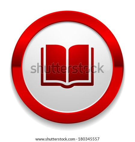 Red round button with book icon - stock vector