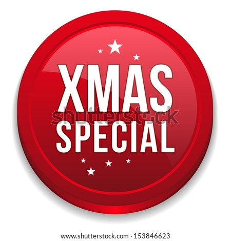 Red round christmas special button - stock vector