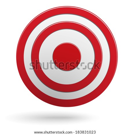 Red round darts target aim isolated on white background - stock vector
