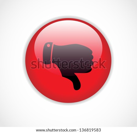 Red round dislike button with thumb down vector - stock vector
