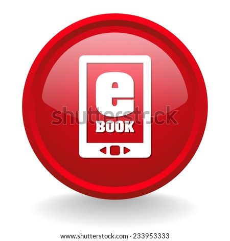 Red round e-book button on white background - stock vector