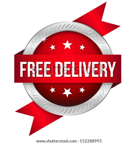 Red round free delivery button - stock vector