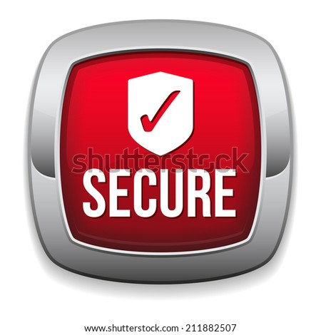 Red round secure button with metallic border on white background - stock vector