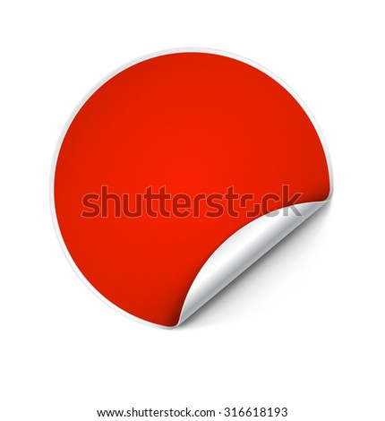 Red round sticker isolated on a white background. It can be used for labels, advertising, promotional, price, etc. Vector element. - stock vector