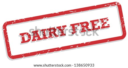 Red rubber stamp vector for dairy free food concept - stock vector