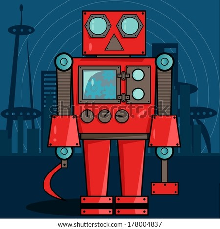 Red Russian Robot - stock vector