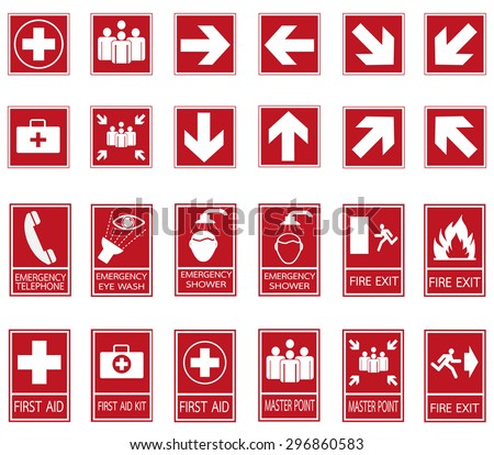 Red safety sign. Vector emergency exit signs set on red background - stock vector